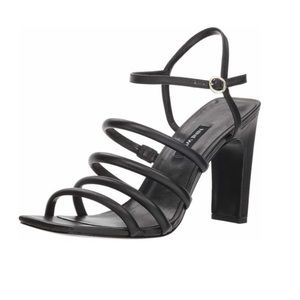 Strappy Leather Black Heeled Sandal Square toe